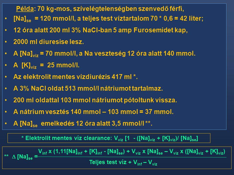 Példa: 70 kg-mos, szívelégtelenségben szenvedő férfi, [Na] se = 120 mmol/l, a teljes test víztartalom 70 * 0,6 = 42 liter; 12 óra alatt 200 ml 3% NaCl-ban 5 amp Furosemidet kap, 2000 ml diuresise lesz.