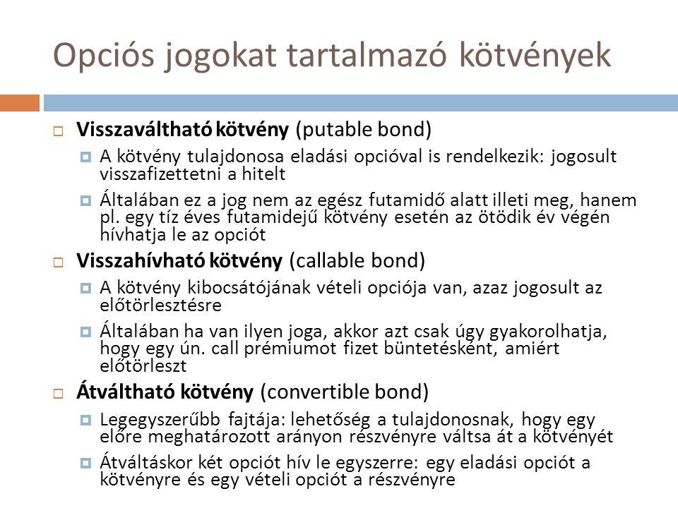 Opciós jogokat tartalmazó kötvények  Visszaváltható kötvény (putable bond)  A kötvény tulajdonosa eladási opcióval is rendelkezik: jogosult visszafi