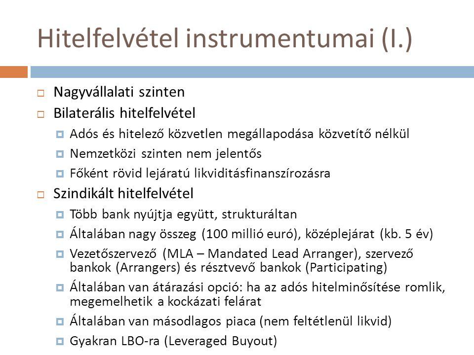 Hitelfelvétel instrumentumai (I.)  Nagyvállalati szinten  Bilaterális hitelfelvétel  Adós és hitelező közvetlen megállapodása közvetítő nélkül  Ne