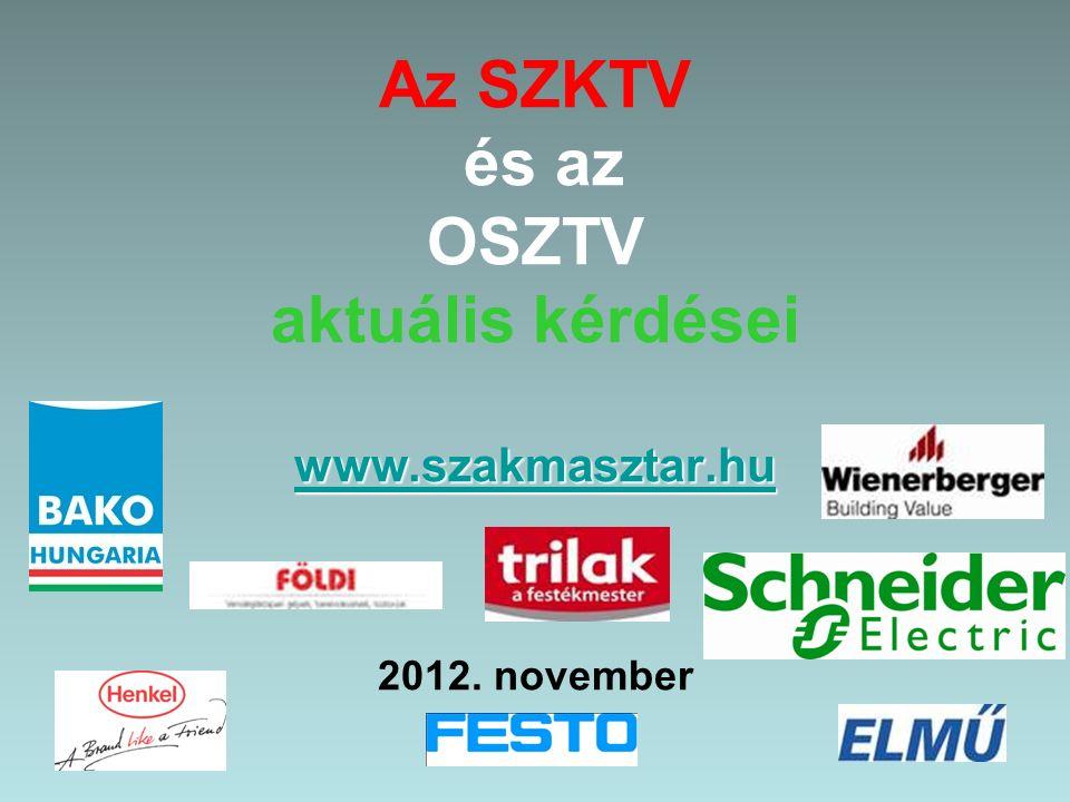 www.szakmasztar.hu www.szakmasztar.hu Az SZKTV és az OSZTV aktuális kérdései www.szakmasztar.hu 2012.