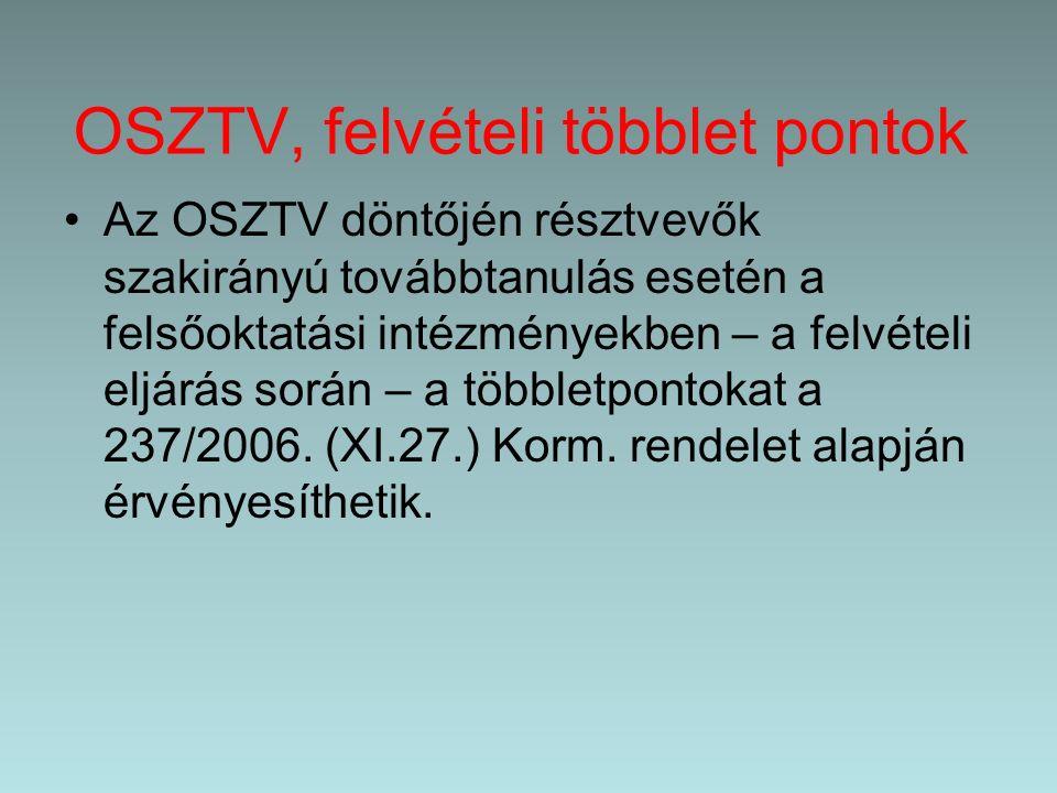 OSZTV, felvételi többlet pontok Az OSZTV döntőjén résztvevők szakirányú továbbtanulás esetén a felsőoktatási intézményekben – a felvételi eljárás során – a többletpontokat a 237/2006.