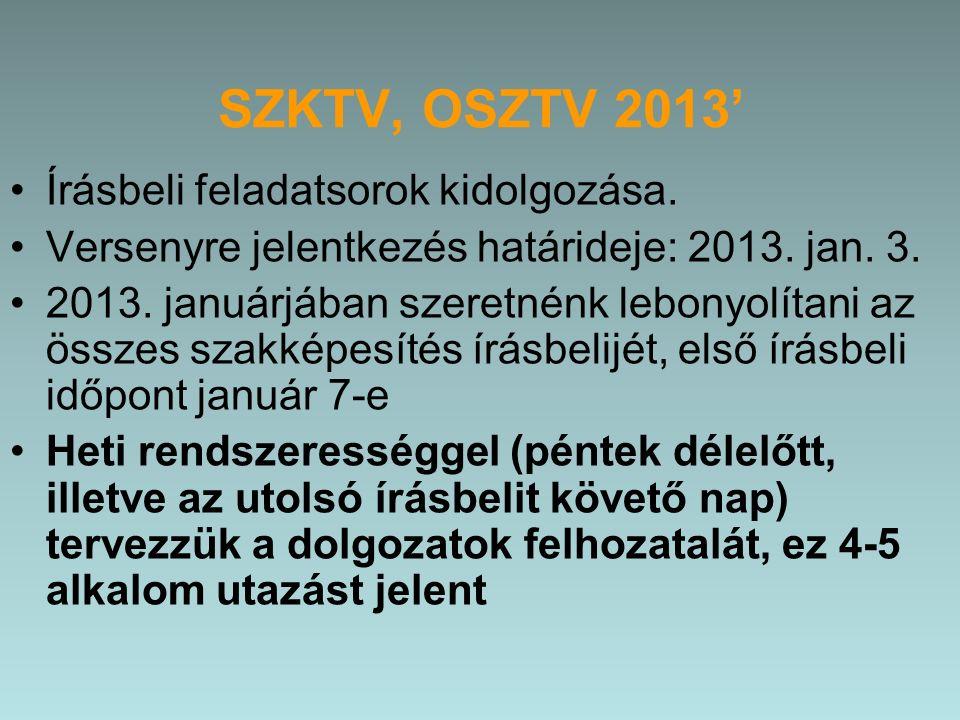 SZKTV, OSZTV 2013' Írásbeli feladatsorok kidolgozása.