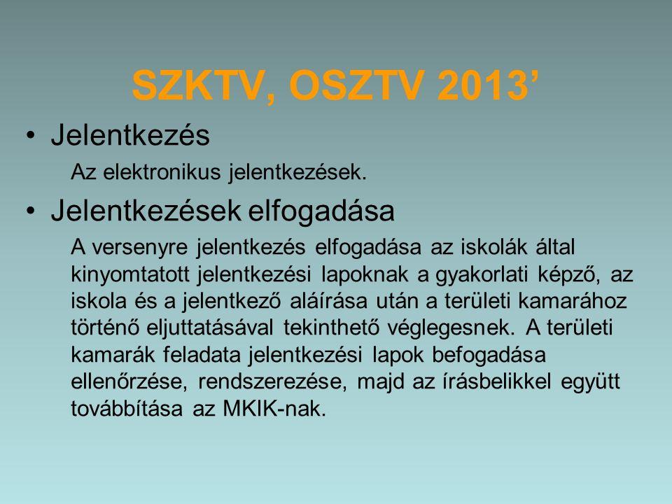 SZKTV, OSZTV 2013' Jelentkezés Az elektronikus jelentkezések.