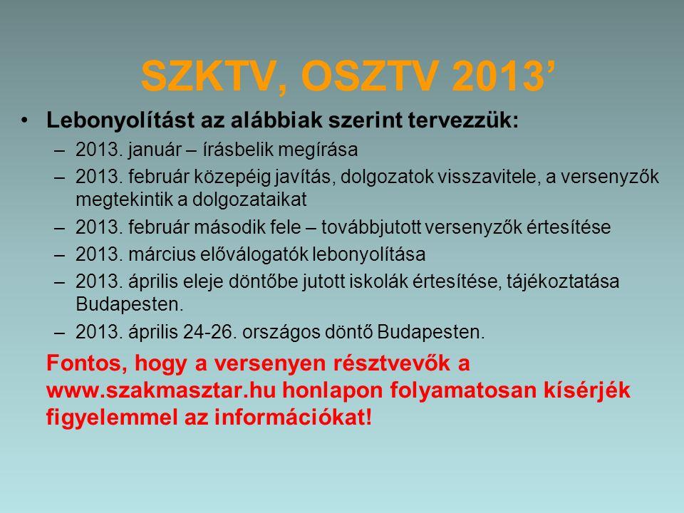 SZKTV, OSZTV 2013' Lebonyolítást az alábbiak szerint tervezzük: –2013.