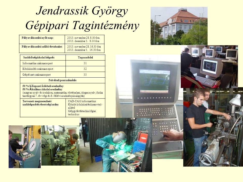 Jendrassik György Gépipari Tagintézmény P á lyav á laszt á si ny í lt nap:2013.