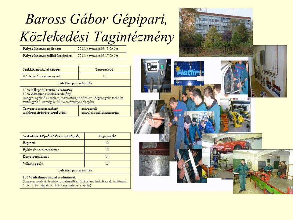 Építészeti, Faipari Tagintézmény P á lyav á laszt á si ny í lt nap: 2013.