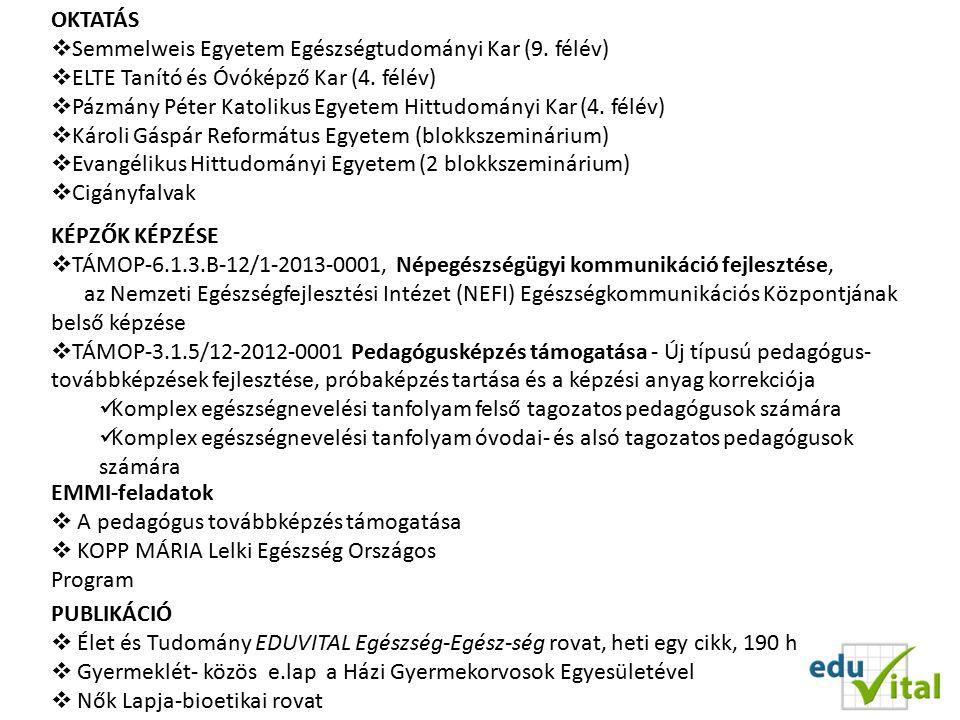 OKTATÁS  Semmelweis Egyetem Egészségtudományi Kar (9.