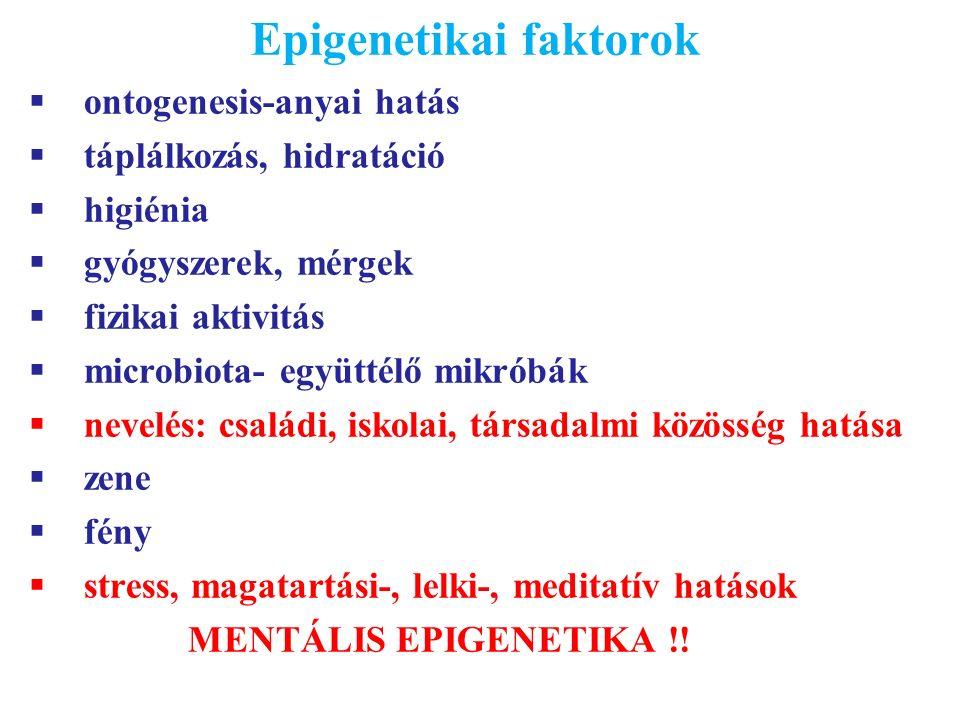 Epigenetikai faktorok  ontogenesis-anyai hatás  táplálkozás, hidratáció  higiénia  gyógyszerek, mérgek  fizikai aktivitás  microbiota- együttélő mikróbák  nevelés: családi, iskolai, társadalmi közösség hatása  zene  fény  stress, magatartási-, lelki-, meditatív hatások MENTÁLIS EPIGENETIKA !!