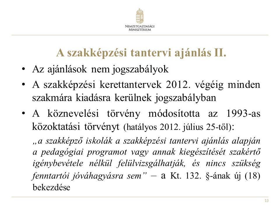 13 A szakképzési tantervi ajánlás II.