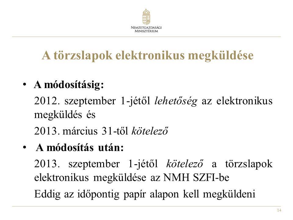 14 A törzslapok elektronikus megküldése A módosításig: 2012. szeptember 1-jétől lehetőség az elektronikus megküldés és 2013. március 31-től kötelező A