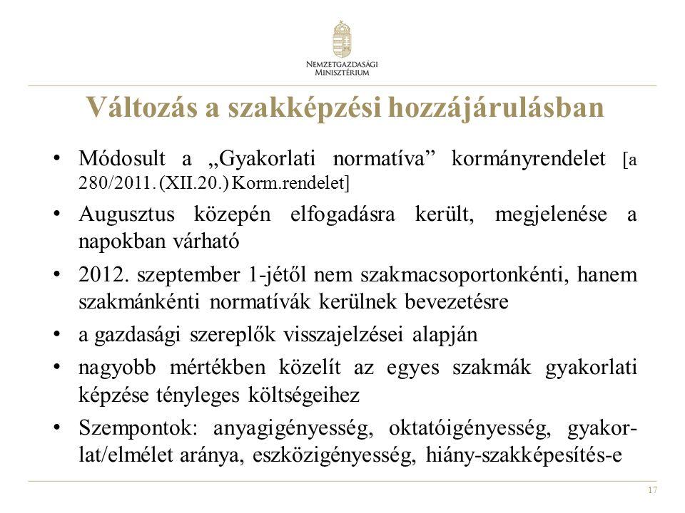 """17 Változás a szakképzési hozzájárulásban Módosult a """"Gyakorlati normatíva"""" kormányrendelet [a 280/2011. (XII.20.) Korm.rendelet] Augusztus közepén el"""
