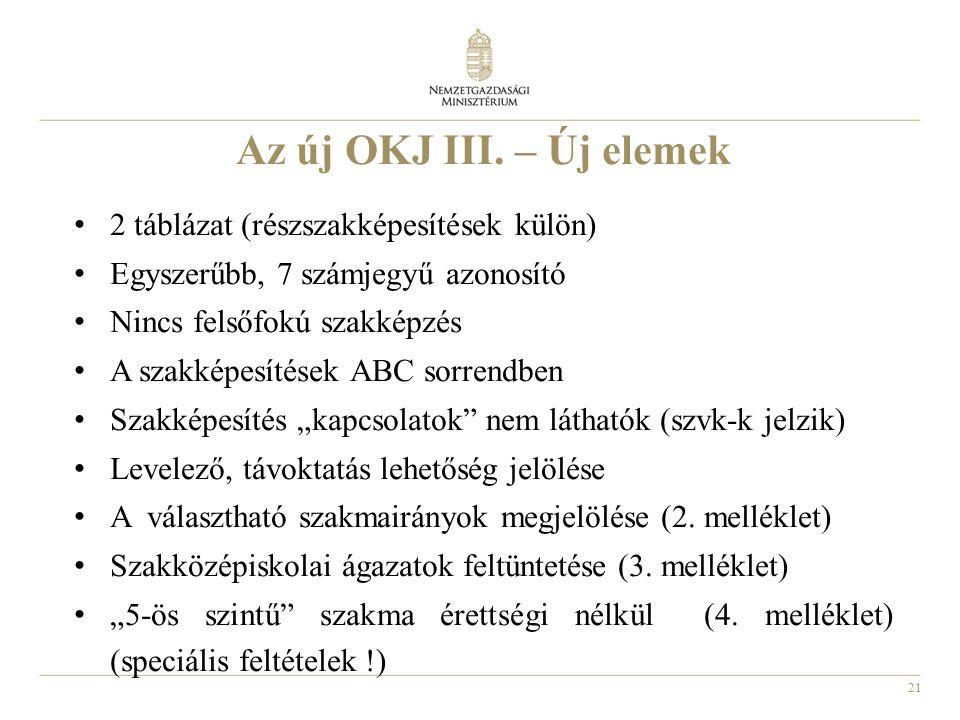 21 Az új OKJ III. – Új elemek 2 táblázat (részszakképesítések külön) Egyszerűbb, 7 számjegyű azonosító Nincs felsőfokú szakképzés A szakképesítések AB