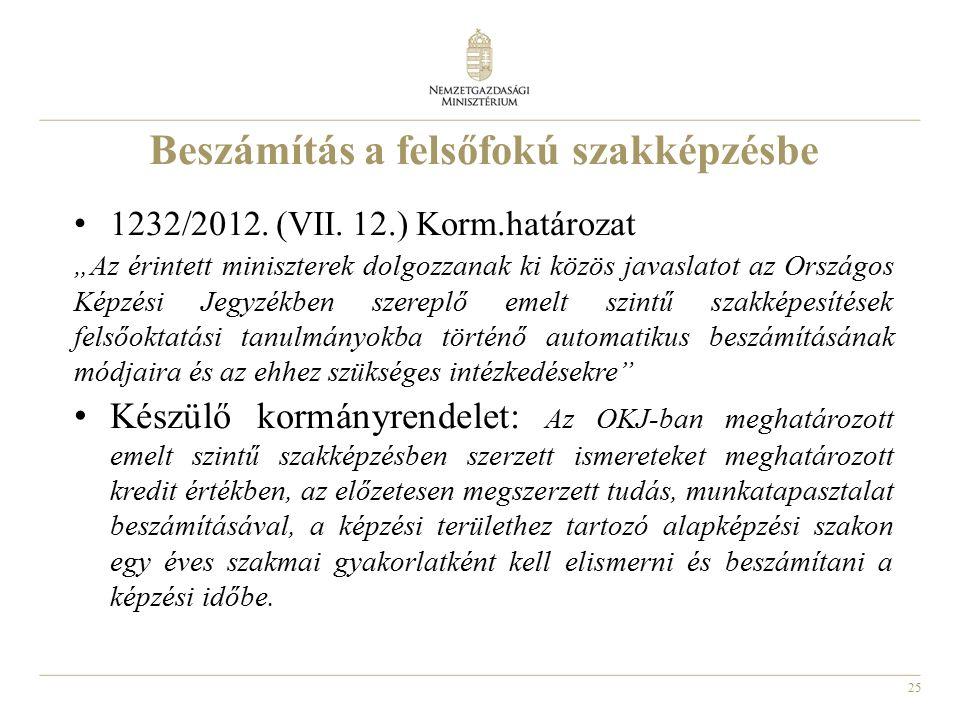 """25 Beszámítás a felsőfokú szakképzésbe 1232/2012. (VII. 12.) Korm.határozat """"Az érintett miniszterek dolgozzanak ki közös javaslatot az Országos Képzé"""