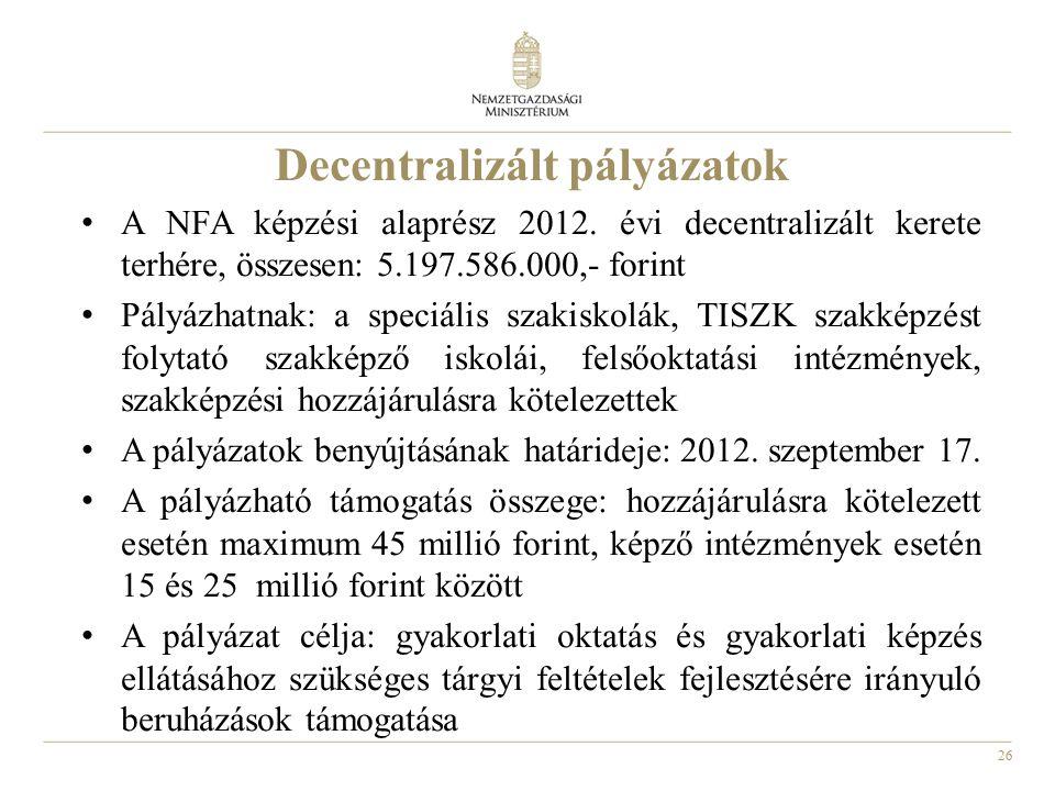 26 Decentralizált pályázatok A NFA képzési alaprész 2012. évi decentralizált kerete terhére, összesen: 5.197.586.000,- forint Pályázhatnak: a speciáli