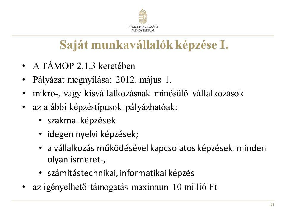 31 Saját munkavállalók képzése I. A TÁMOP 2.1.3 keretében Pályázat megnyílása: 2012. május 1. mikro-, vagy kisvállalkozásnak minősülő vállalkozások az