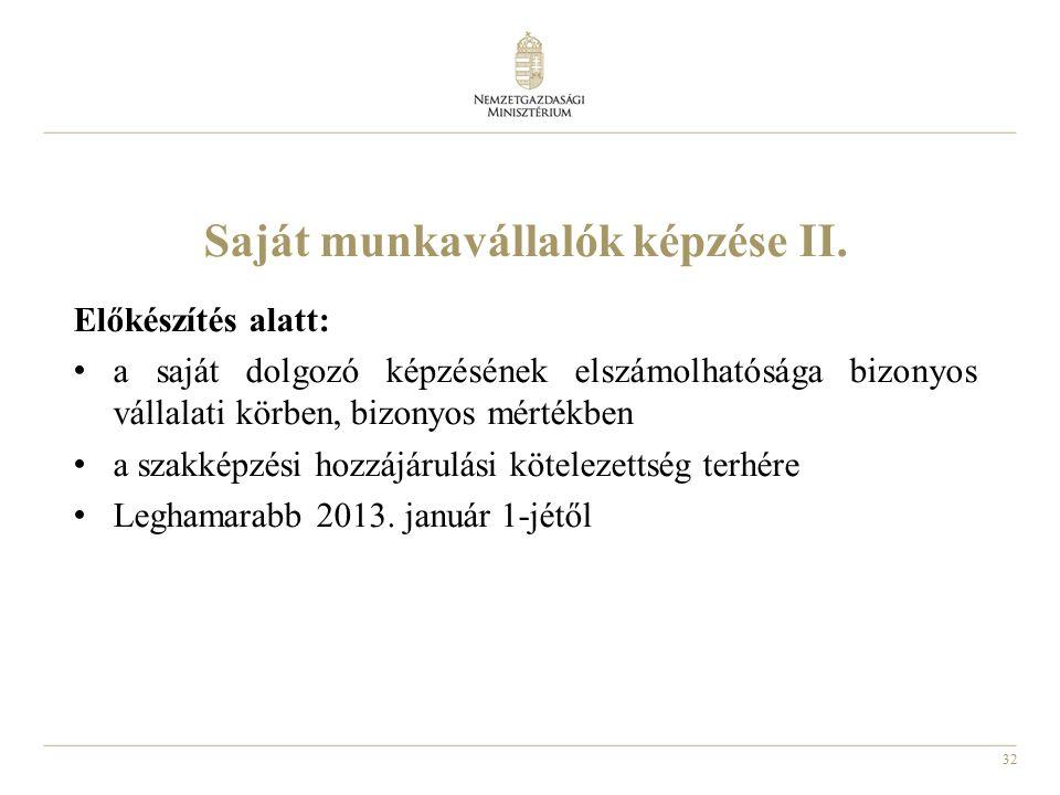 32 Saját munkavállalók képzése II.