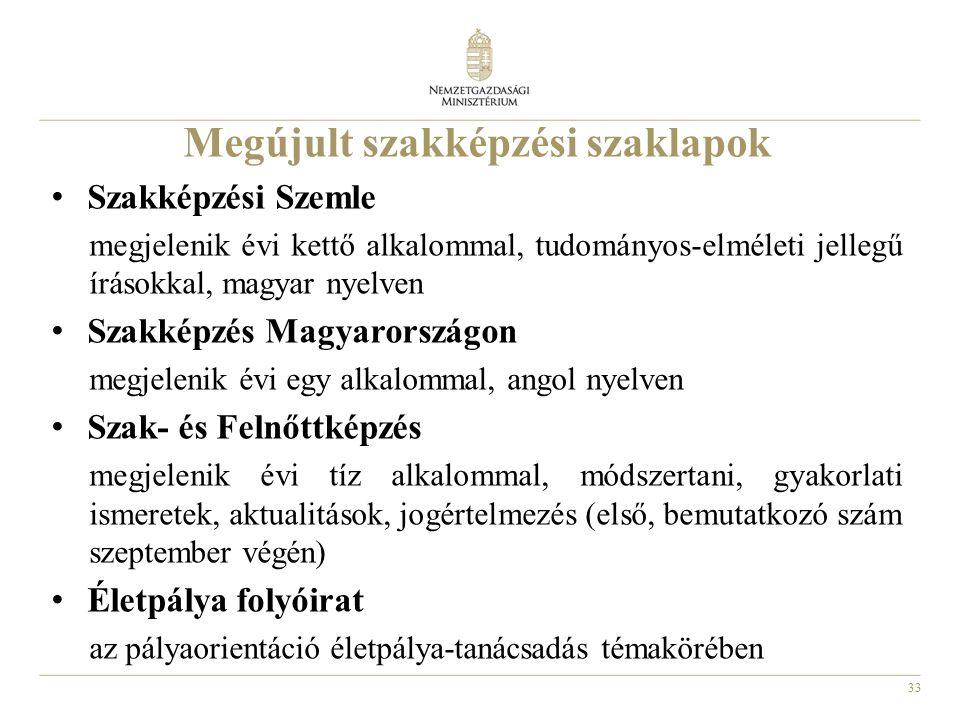 33 Megújult szakképzési szaklapok Szakképzési Szemle megjelenik évi kettő alkalommal, tudományos-elméleti jellegű írásokkal, magyar nyelven Szakképzés Magyarországon megjelenik évi egy alkalommal, angol nyelven Szak- és Felnőttképzés megjelenik évi tíz alkalommal, módszertani, gyakorlati ismeretek, aktualitások, jogértelmezés (első, bemutatkozó szám szeptember végén) Életpálya folyóirat az pályaorientáció életpálya-tanácsadás témakörében