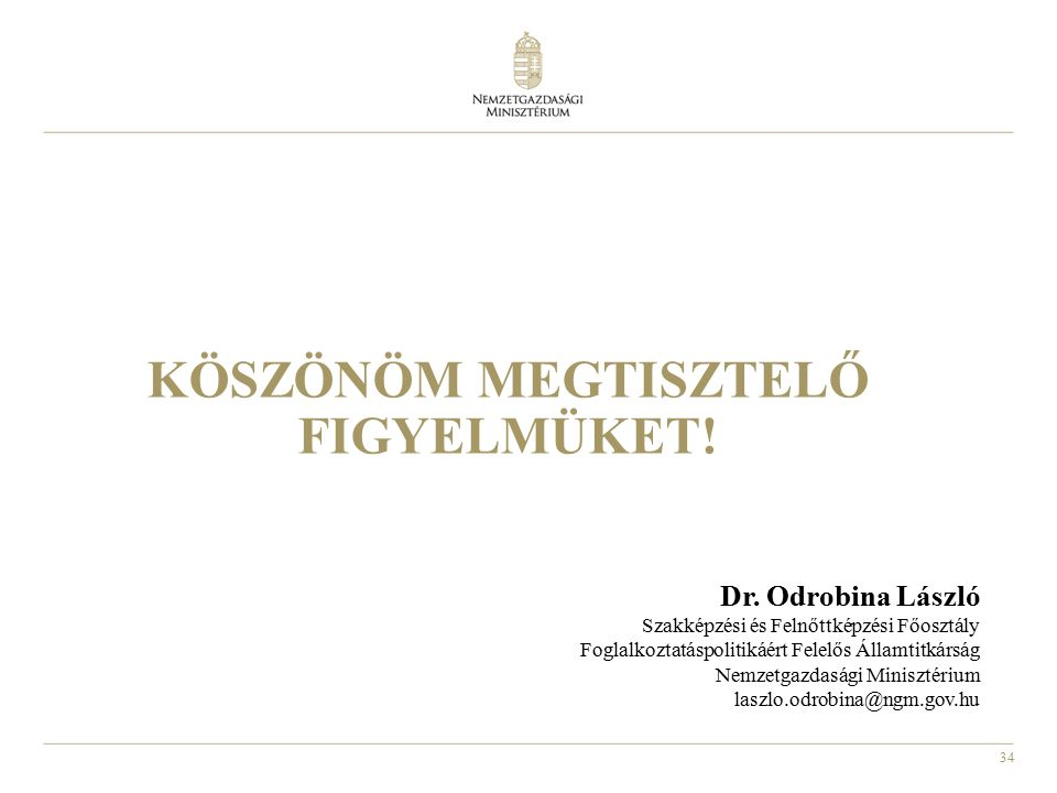 34 KÖSZÖNÖM MEGTISZTELŐ FIGYELMÜKET! Dr. Odrobina László Szakképzési és Felnőttképzési Főosztály Foglalkoztatáspolitikáért Felelős Államtitkárság Nemz