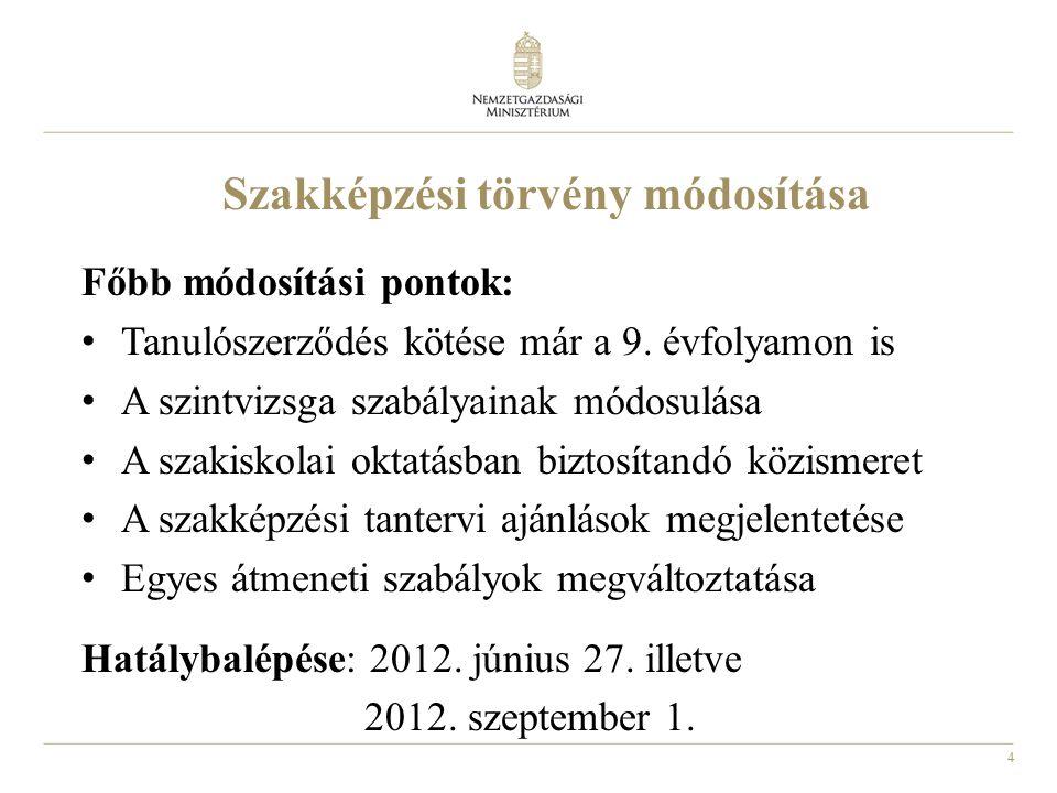 15 Szakmaszerkezeti döntés A javaslatot 2012.