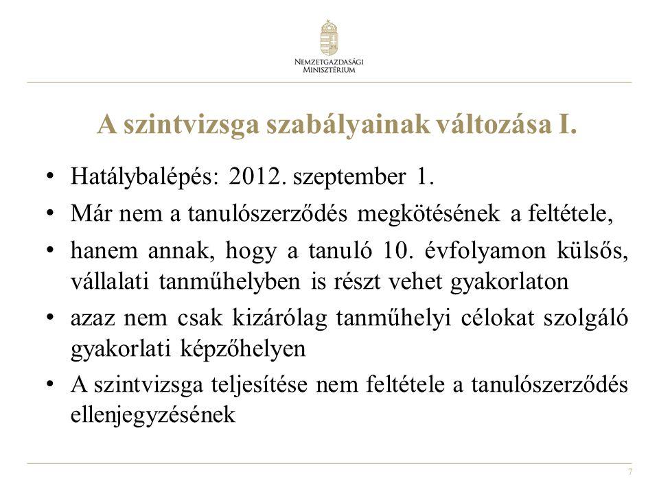 7 A szintvizsga szabályainak változása I. Hatálybalépés: 2012. szeptember 1. Már nem a tanulószerződés megkötésének a feltétele, hanem annak, hogy a t