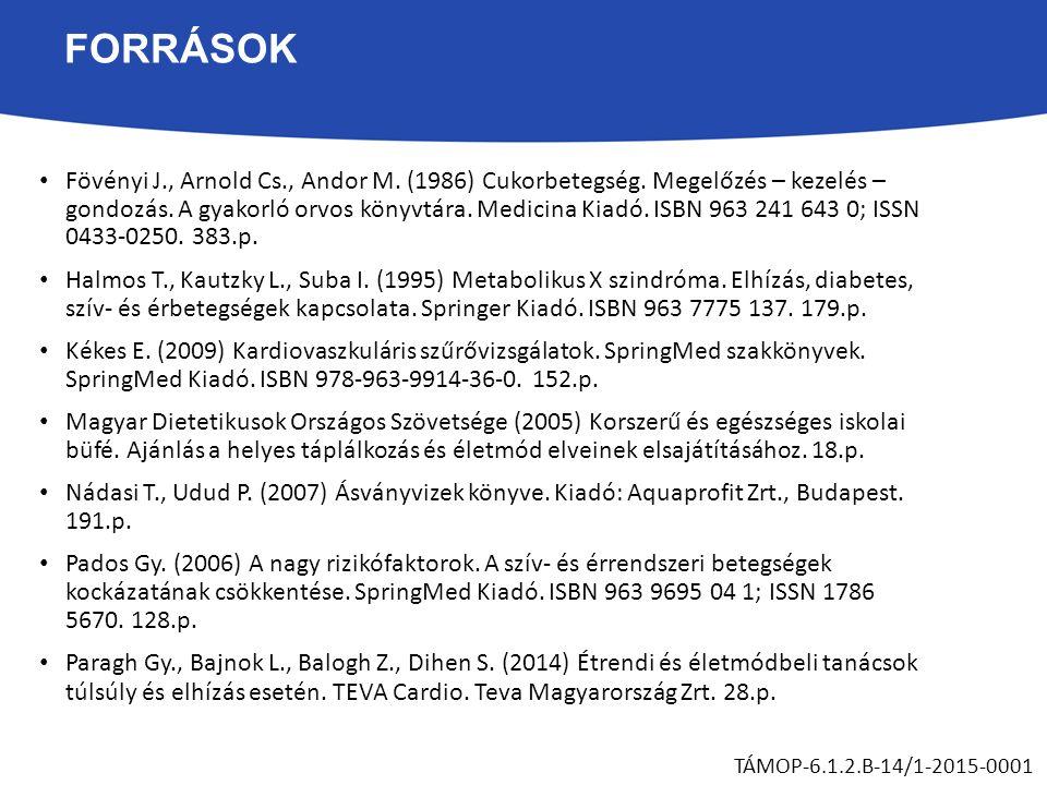 FORRÁSOK Fövényi J., Arnold Cs., Andor M.(1986) Cukorbetegség.