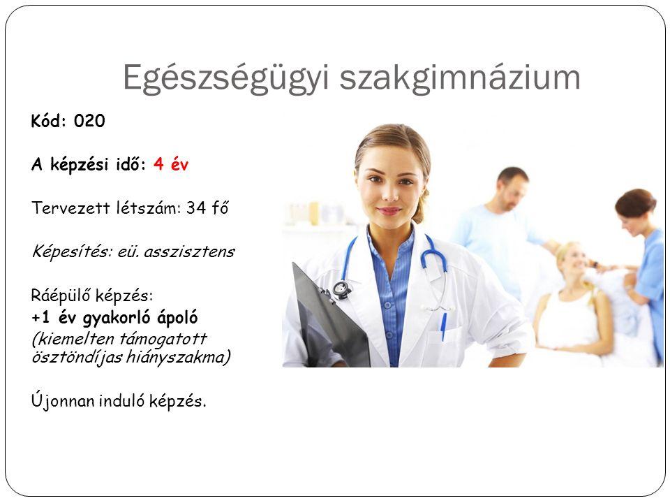 Egészségügyi szakgimnázium Kód: 020 A képzési idő: 4 év Tervezett létszám: 34 fő Képesítés: eü. asszisztens Ráépülő képzés: +1 év gyakorló ápoló (kiem