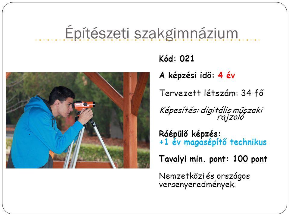 Építészeti szakgimnázium Kód: 021 A képzési idő: 4 év Tervezett létszám: 34 fő Képesítés: digitális műszaki rajzoló Ráépülő képzés: +1 év magasépítő t