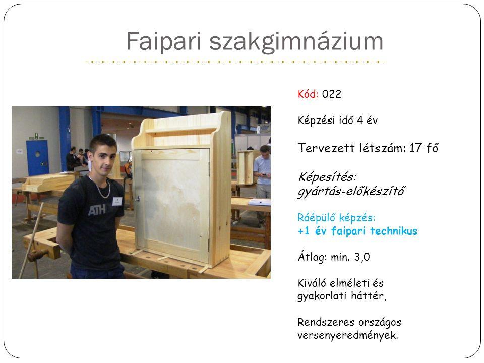 Faipari szakgimnázium Kód: 022 Képzési idő 4 év Tervezett létszám: 17 fő Képesítés: gyártás-előkészítő Ráépülő képzés: +1 év faipari technikus Átlag: