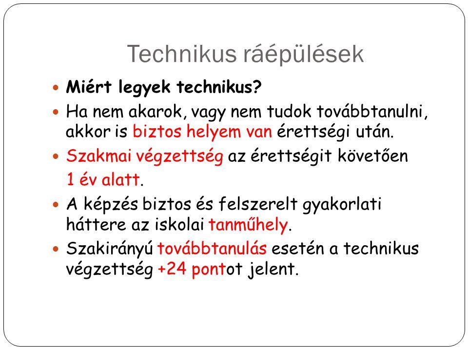 Technikus ráépülések Miért legyek technikus? Ha nem akarok, vagy nem tudok továbbtanulni, akkor is biztos helyem van érettségi után. Szakmai végzettsé