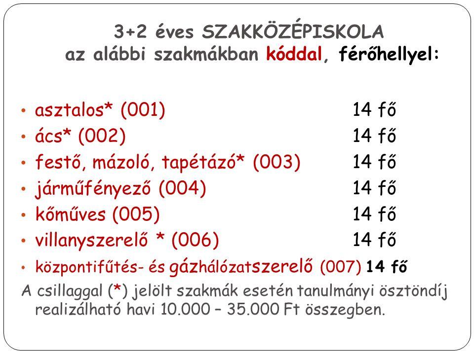 3+2 éves SZAKKÖZÉPISKOLA az alábbi szakmákban kóddal, férőhellyel: asztalos* (001) 14 fő ács* (002) 14 fő festő, mázoló, tapétázó* (003) 14 fő járműfényező (004) 14 fő kőműves (005) 14 fő villanyszerelő * (006) 14 fő központifűtés- és gáz hálózat szerelő (007) 14 fő A csillaggal (*) jelölt szakmák esetén tanulmányi ösztöndíj realizálható havi 10.000 – 35.000 Ft összegben.