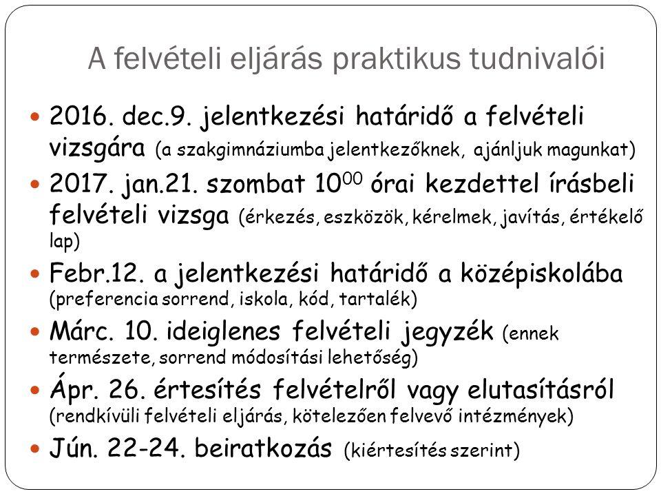 A felvételi eljárás praktikus tudnivalói 2016. dec.9. jelentkezési határidő a felvételi vizsgára (a szakgimnáziumba jelentkezőknek, ajánljuk magunkat)
