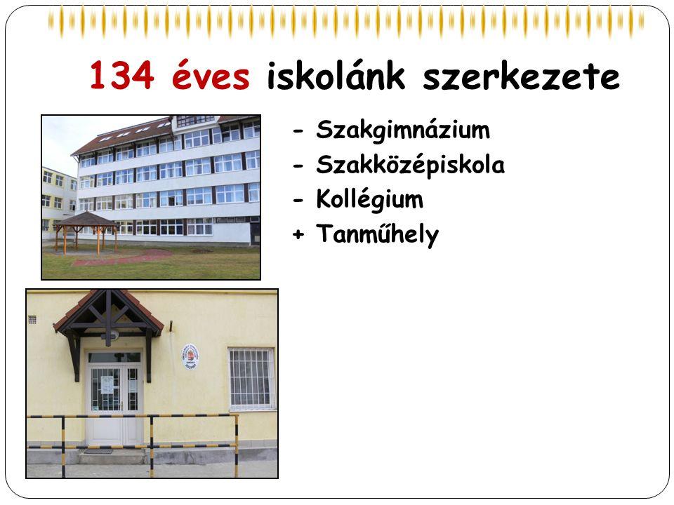 134 éves iskolánk szerkezete - Szakgimnázium - Szakközépiskola - Kollégium + Tanműhely