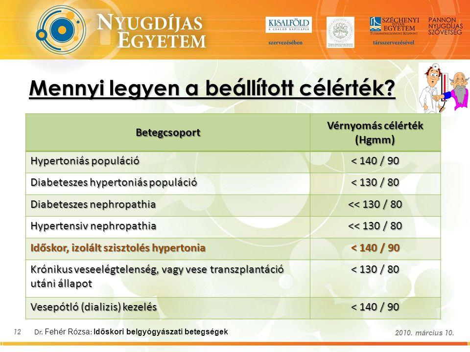 Dr. Fehér Rózsa : Időskori belgyógyászati betegségek 12 2010. március 10. Mennyi legyen a beállított célérték? Betegcsoport Vérnyomás célérték (Hgmm)