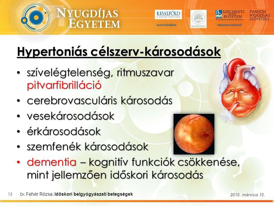 Dr. Fehér Rózsa : Időskori belgyógyászati betegségek 13 2010. március 10. Hypertoniás célszerv-károsodások szívelégtelenség, ritmuszavar pitvarfibrill