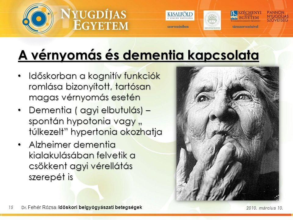 Dr. Fehér Rózsa : Időskori belgyógyászati betegségek 15 2010. március 10. A vérnyomás és dementia kapcsolata Időskorban a kognitív funkciók romlása bi