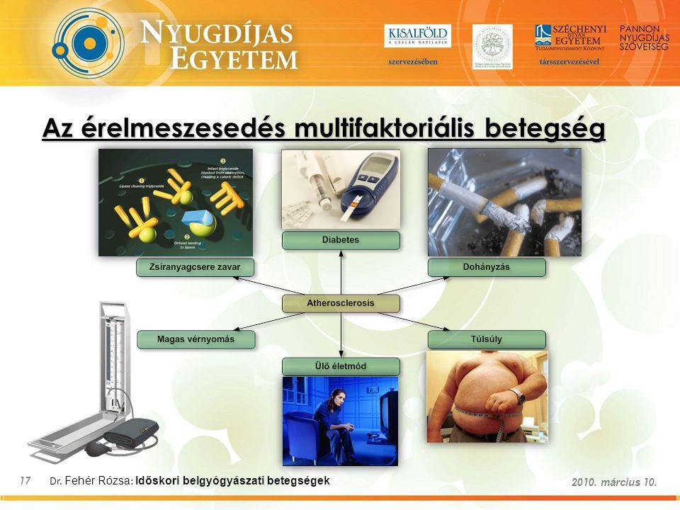 Dr. Fehér Rózsa : Időskori belgyógyászati betegségek 17 2010. március 10. Az érelmeszesedés multifaktoriális betegség