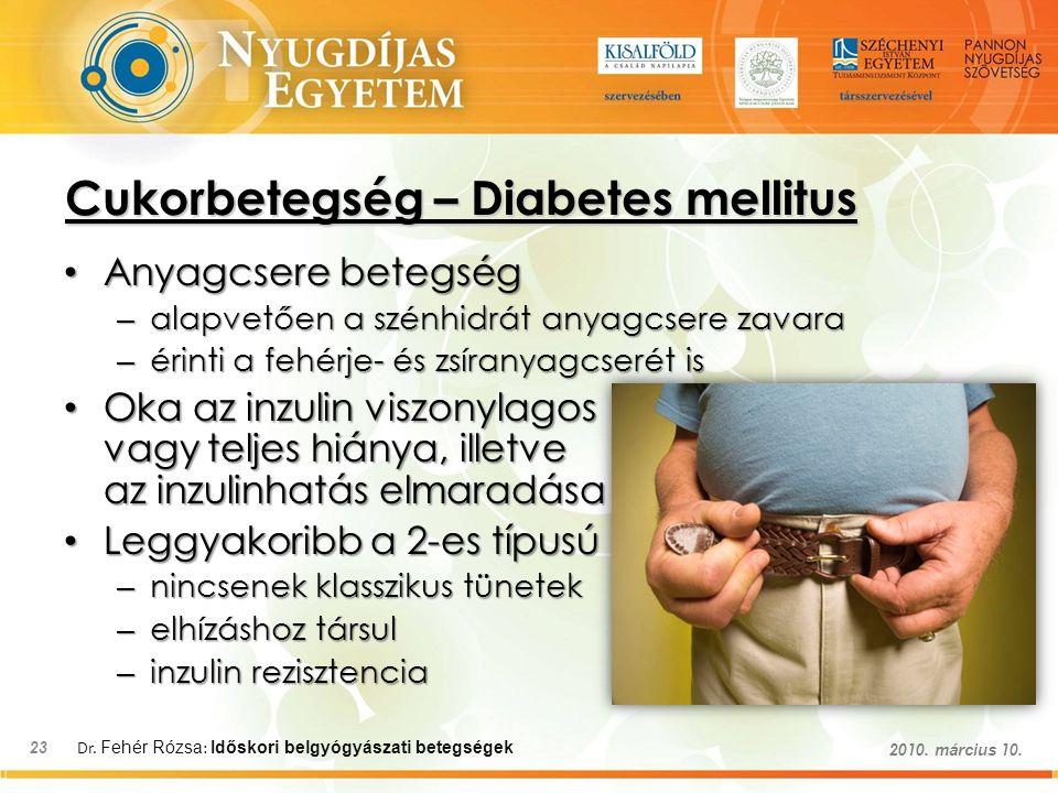 Dr. Fehér Rózsa : Időskori belgyógyászati betegségek 23 2010. március 10. Cukorbetegség – Diabetes mellitus Anyagcsere betegség Anyagcsere betegség –