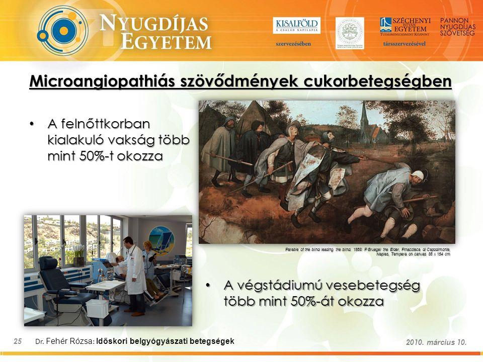 Dr. Fehér Rózsa : Időskori belgyógyászati betegségek 25 2010. március 10. Microangiopathiás szövődmények cukorbetegségben A felnőttkorban kialakuló va