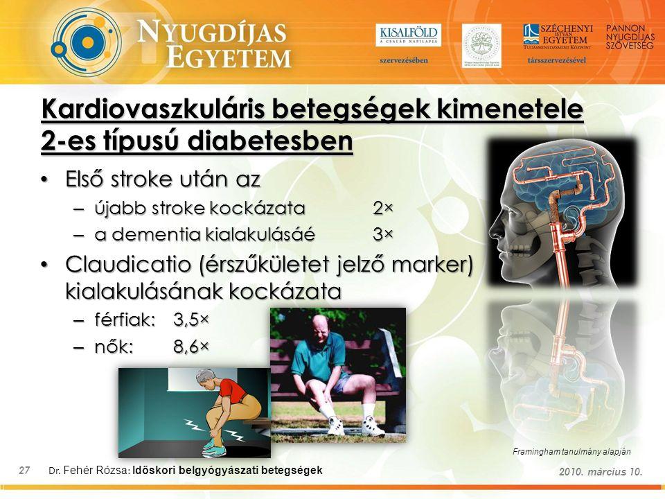 Dr. Fehér Rózsa : Időskori belgyógyászati betegségek 27 2010. március 10. Kardiovaszkuláris betegségek kimenetele 2-es típusú diabetesben Első stroke