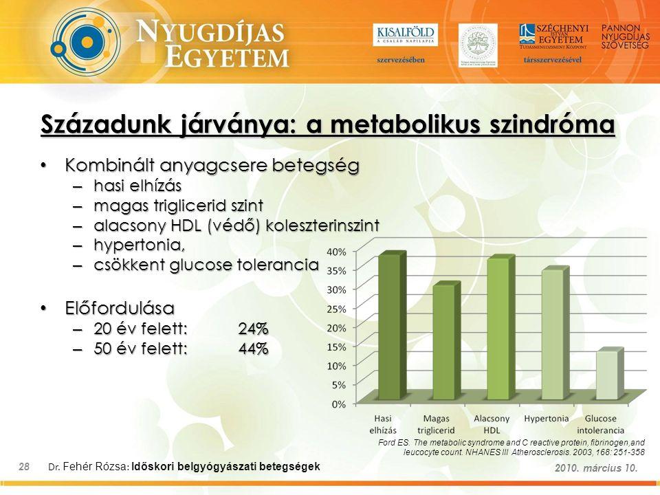 Dr. Fehér Rózsa : Időskori belgyógyászati betegségek 28 2010. március 10. Századunk járványa: a metabolikus szindróma Kombinált anyagcsere betegség Ko
