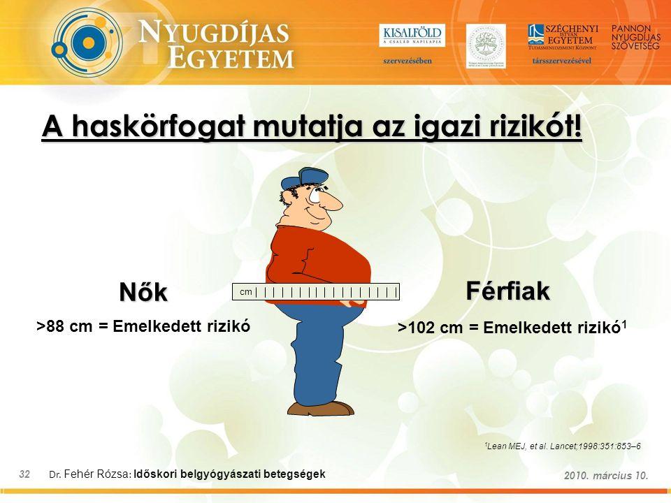 Dr. Fehér Rózsa : Időskori belgyógyászati betegségek 32 2010.