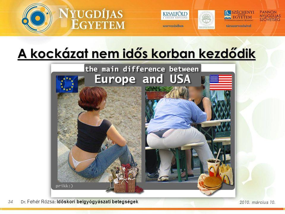 Dr. Fehér Rózsa : Időskori belgyógyászati betegségek 34 2010. március 10. A kockázat nem idős korban kezdődik