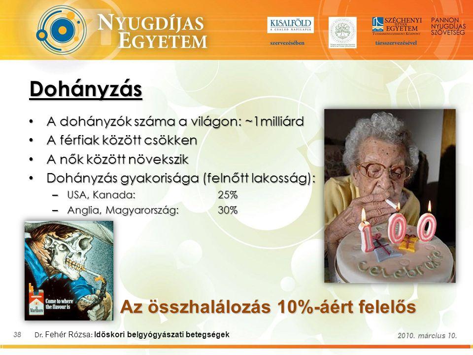 Dr. Fehér Rózsa : Időskori belgyógyászati betegségek 38 2010. március 10. Dohányzás A dohányzók száma a világon: ~1milliárd A dohányzók száma a világo