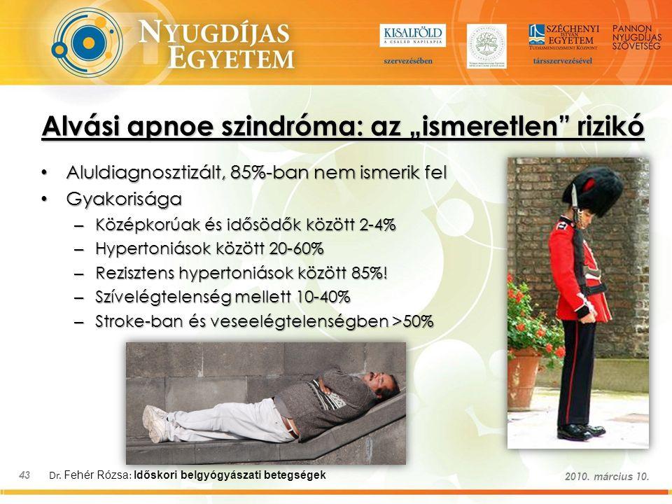 """Dr. Fehér Rózsa : Időskori belgyógyászati betegségek 43 2010. március 10. Alvási apnoe szindróma: az """"ismeretlen"""" rizikó Aluldiagnosztizált, 85%-ban n"""