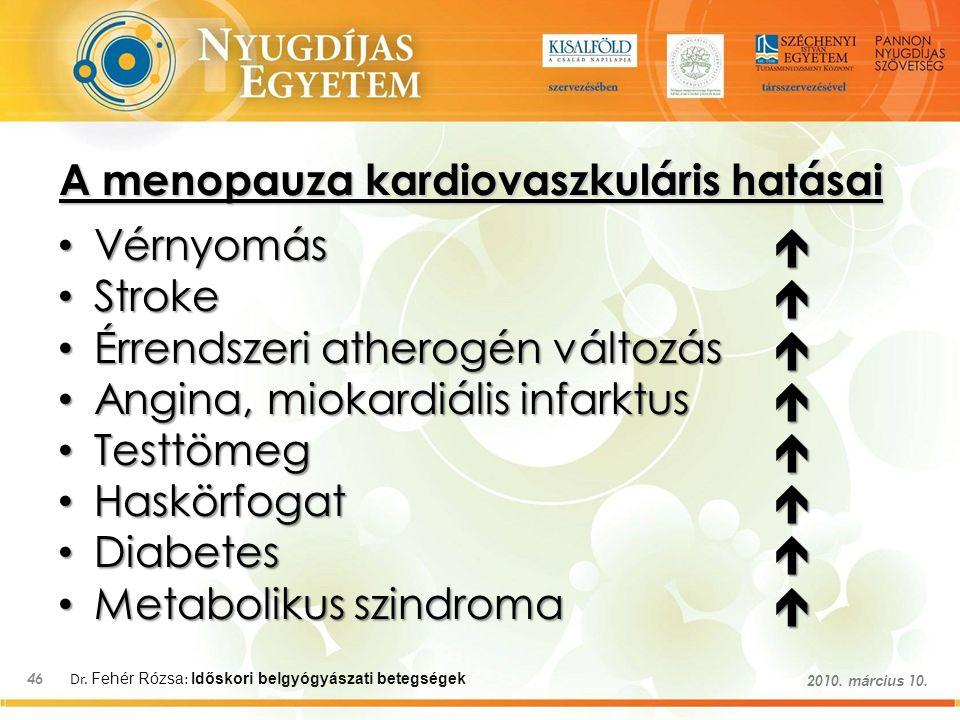 Dr. Fehér Rózsa : Időskori belgyógyászati betegségek 46 2010. március 10. A menopauza kardiovaszkuláris hatásai Vérnyomás  Vérnyomás  Stroke  Strok