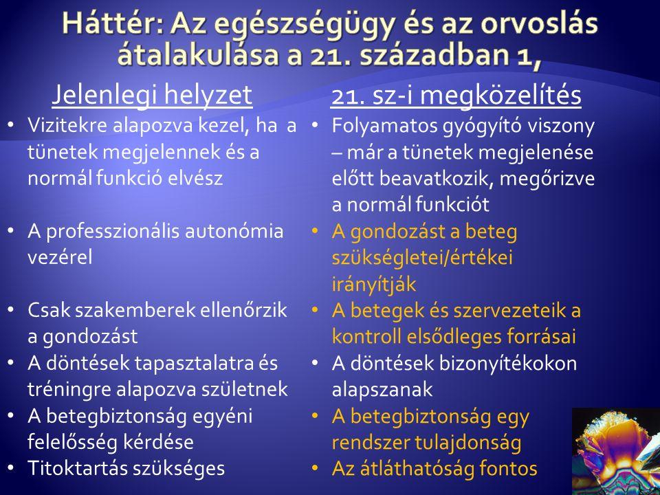 Jelenlegi helyzet Vizitekre alapozva kezel, ha a tünetek megjelennek és a normál funkció elvész A professzionális autonómia vezérel Csak szakemberek ellenőrzik a gondozást A döntések tapasztalatra és tréningre alapozva születnek A betegbiztonság egyéni felelősség kérdése Titoktartás szükséges 21.