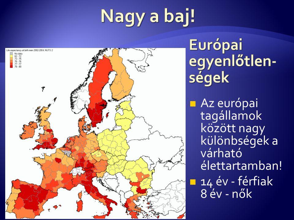 Az európai tagállamok között nagy különbségek a várható élettartamban! 14 év - férfiak 8 év - nők