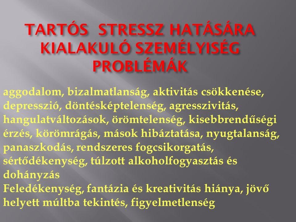 aggodalom, bizalmatlanság, aktivitás csökkenése, depresszió, döntésképtelenség, agresszivitás, hangulatváltozások, örömtelenség, kisebbrendűségi érzés, körömrágás, mások hibáztatása, nyugtalanság, panaszkodás, rendszeres fogcsikorgatás, sértődékenység, túlzott alkoholfogyasztás és dohányzás Feledékenység, fantázia és kreativitás hiánya, jövő helyett múltba tekintés, figyelmetlenség TARTÓS STRESSZ HATÁSÁRA KIALAKULÓ SZEMÉLYISÉG PROBLÉMÁK