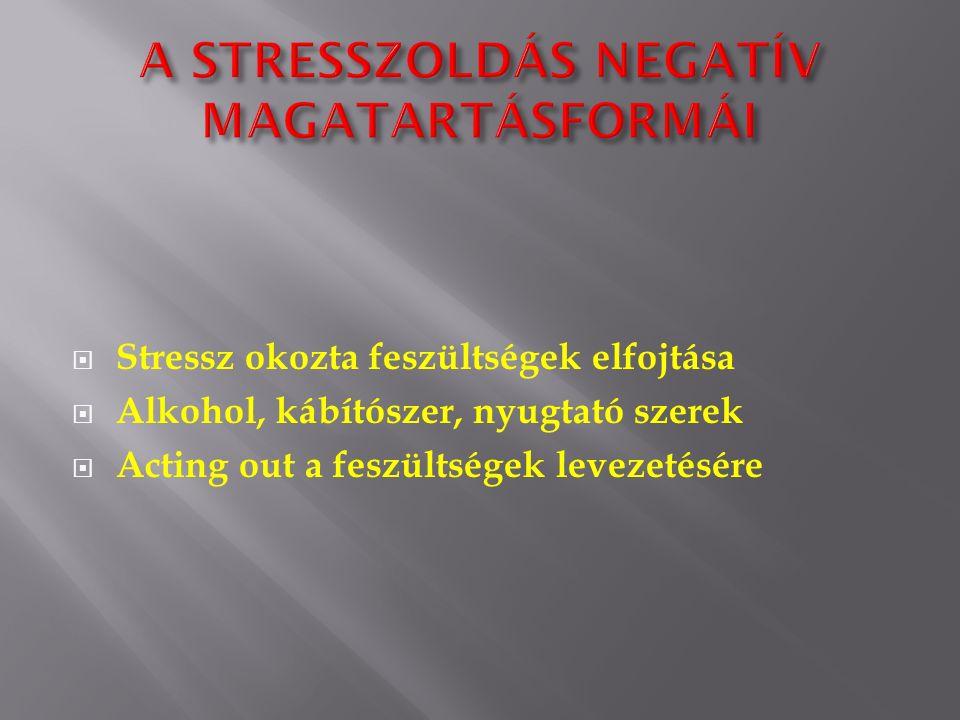  Stressz okozta feszültségek elfojtása  Alkohol, kábítószer, nyugtató szerek  Acting out a feszültségek levezetésére