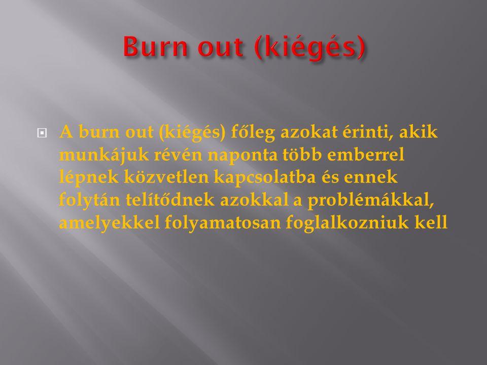  A burn out (kiégés) főleg azokat érinti, akik munkájuk révén naponta több emberrel lépnek közvetlen kapcsolatba és ennek folytán telítődnek azokkal a problémákkal, amelyekkel folyamatosan foglalkozniuk kell